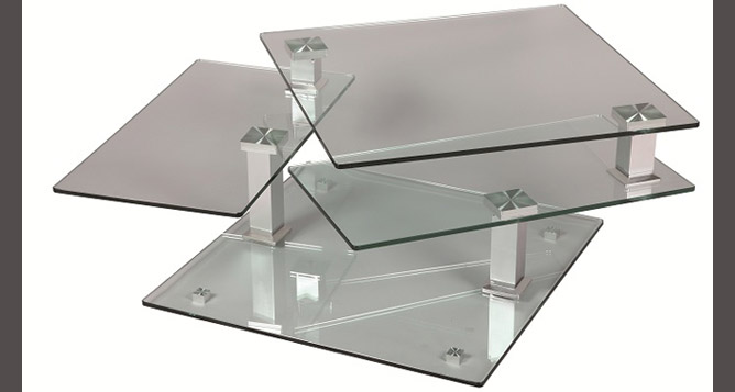 Table basse en verre carr e tables basses le geant du meuble - Table basse rectangulaire en verre ...