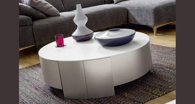 Meubles serre table basse ronde allure gautier - Table basse ronde avec rangement ...